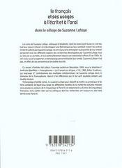 Le français et ses usages à l'écrit et à l'oral ; dans les sillage de Suzanne Lafage - 4ème de couverture - Format classique