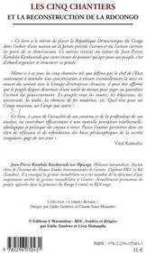 Cinq chantiers et la reconstruction de la RDCongo - 4ème de couverture - Format classique
