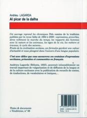 Al picar de la dalha ; dires et expressions du pays d'Oc - 4ème de couverture - Format classique