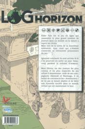 Log Horizon T.1 ; Premiers Pas Dans Un Autre Monde - 4ème de couverture - Format classique