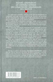 Budget, Comptabilite Et Controle Externe Des Collectivites Territoriales ; Essai Prospectif - 4ème de couverture - Format classique