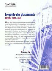 Investir ; Le Guide Des Placements 2000-2001 - 4ème de couverture - Format classique