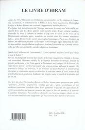 Livre d'hiram (le) - 4ème de couverture - Format classique