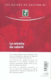 La Retraite Du Salarie (3e Edition) - 4ème de couverture - Format classique