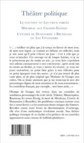 Theatre Politique T1 Le Couvent Ou Les Voeux Forces Mirabeau Aux Champs Elysees L'Entree De Dumourie - 4ème de couverture - Format classique