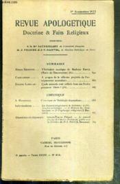REVUE D'APOLOGETIQUE - DOCTRINE & FAIT RELIGIEUX - N° 392 - 1er SEPTEMBRE 1922 - l'initiation mystique de Madame Martin (Marie de l'Incarnation) (fin) par Henri Bremond - à propos de la reforme projetée de l'enseignement secondaire par Gaillardon.. - Couverture - Format classique