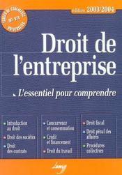 Droit de l'entreprise ; l'essentiel pour comprendre - Intérieur - Format classique