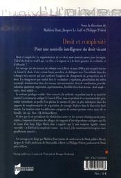 Droit et complexité ; pour une nouvelle intelligence du droit vivant - 4ème de couverture - Format classique