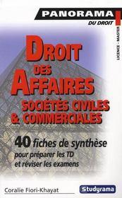 Droit des sociétés ; licence - master ; 30 fiches de synthèse pour préparer les td et réviser les examens - Intérieur - Format classique