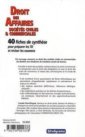 Droit des sociétés ; licence - master ; 30 fiches de synthèse pour préparer les td et réviser les examens - 4ème de couverture - Format classique