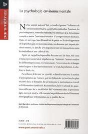 La psychologie environnementale - 4ème de couverture - Format classique