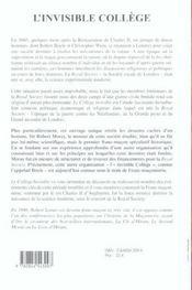 L'invisible college ; la royal society, la franc-maconnerie et la naissance de la science moderne - 4ème de couverture - Format classique