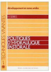Développement en zones arides ; politiques d'hydraulique pastorale - Couverture - Format classique