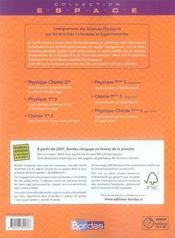ESPACE LYCEE ; chimie ; terminale S ; enseignement obligatoire ; manuel (édition 2007) - 4ème de couverture - Format classique