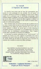 Le Travail A L'Epreuve Du Salariat - 4ème de couverture - Format classique