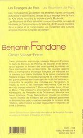 Benjamin Fondane - 4ème de couverture - Format classique
