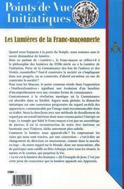 Points De Vue Initiatiques N.142 ; Les Lumières De La Franc-Maçonnerie - 4ème de couverture - Format classique