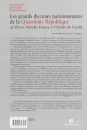 Les grands discours parlementaires de la quatrieme republique - de pierre mendes a charles de gaulle - 4ème de couverture - Format classique