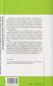 Chômage et exclusion en Europe postcommuniste ; Allemagne de l'Est, Pologne - 4ème de couverture - Format classique