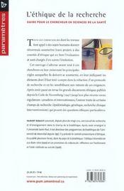 Éthique de la recherche - 4ème de couverture - Format classique