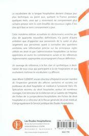 Dictionnaire des principaux sigles du droit et de l'administration hospitaliere 3e ed - 4ème de couverture - Format classique
