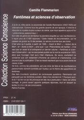 Fantômes et sciences d'observation - 4ème de couverture - Format classique