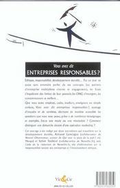 Vous Avez Dit Entreprises Responsables ? - 4ème de couverture - Format classique