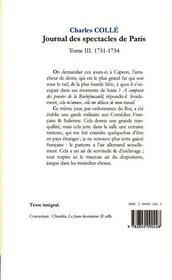Journal des spectacles de Paris t.3 (1751-1754) - 4ème de couverture - Format classique