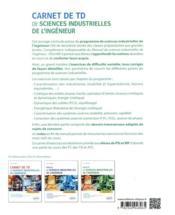 Carnet de TD de sciences industrielles de l'ingénieur (SII) : PSI et MP - 4ème de couverture - Format classique