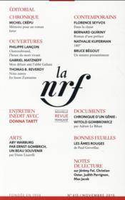La N.R.F. N615 (Novembre 2015) - Couverture - Format classique