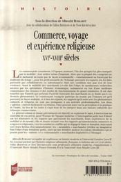 Commerce, voyage et expérience religieuse, xvi-xviii siècles - 4ème de couverture - Format classique