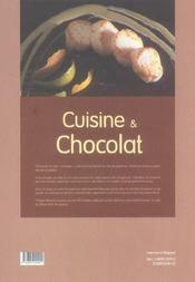 Cuisine et chocolat - 4ème de couverture - Format classique