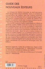 Guide des nouveaux editeurs - le manuel de l'edition - 4ème de couverture - Format classique