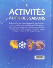 Activites Au Fil Des Saisons - 4ème de couverture - Format classique