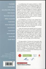 Le droit face à l'urgence ; disputatio magistrorum et scolarium argentori Secunda - 4ème de couverture - Format classique