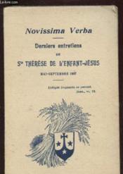 Novissima Verba - Derniers Entretiens De Ste Therese De L'Enfant Jesus - Mai Septembre 1897 - Couverture - Format classique