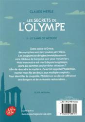 Les secrets de l'Olympe t.1 ; le sang de Méduse - 4ème de couverture - Format classique