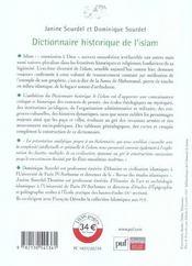 Dictionnaire Historique De L'Islam - 4ème de couverture - Format classique