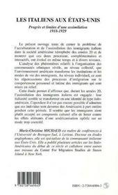 Les Italiens Aux Etats-Unis 1918-1929 ; Progres Et Limites D'Une Assimilation - 4ème de couverture - Format classique