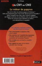 L'ENIGME DES VACANCES PRIMAIRE T.9 ; le voleur de papyrus ; du CM1 au CM2 ; 9/10 ans - 4ème de couverture - Format classique