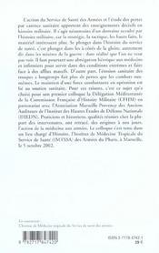 Le Service De Sante Des Armees Entre Guerre Et Paix - 4ème de couverture - Format classique
