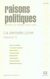 Revue Raisons Politiques N.7 ; La Pensée Juive T.1 - Intérieur - Format classique