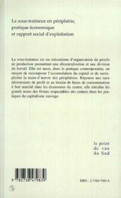 La sous-traitance en péripherie ; pratique économique et rapport social d'exploitation ; centre tricontinental - 4ème de couverture - Format classique
