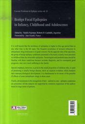 Benign focal epilepsies in infancy, childhood and adolescence/épilepsies focales bénignes - 4ème de couverture - Format classique
