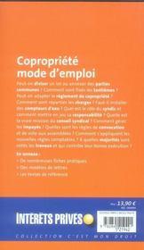 Copropriété mode d'emploi. - 4ème de couverture - Format classique