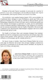 La France dans les jeux d'influences en Syrie et au Liban 1940-1946 - 4ème de couverture - Format classique