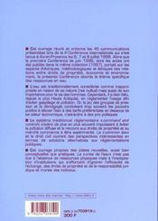 Les ressources en eau - droits de la propriete, economie et environnement - 4ème de couverture - Format classique