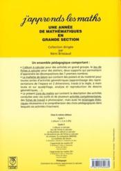 J'APPRENDS LES MATHS ; grande section ; livre du maître - 4ème de couverture - Format classique