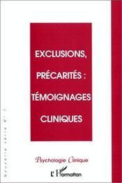 Exclusions, précarités ; témoignages cliniques - Couverture - Format classique