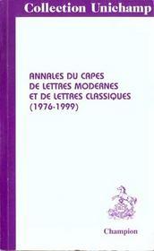 Annales Du Capes De Lettres Modernes Et De Lettresclassiques (1977-1999) - Intérieur - Format classique